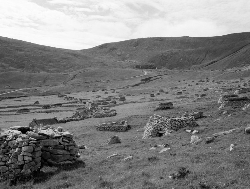 St Kilda, Village. General view from East towards Mullach Geal.