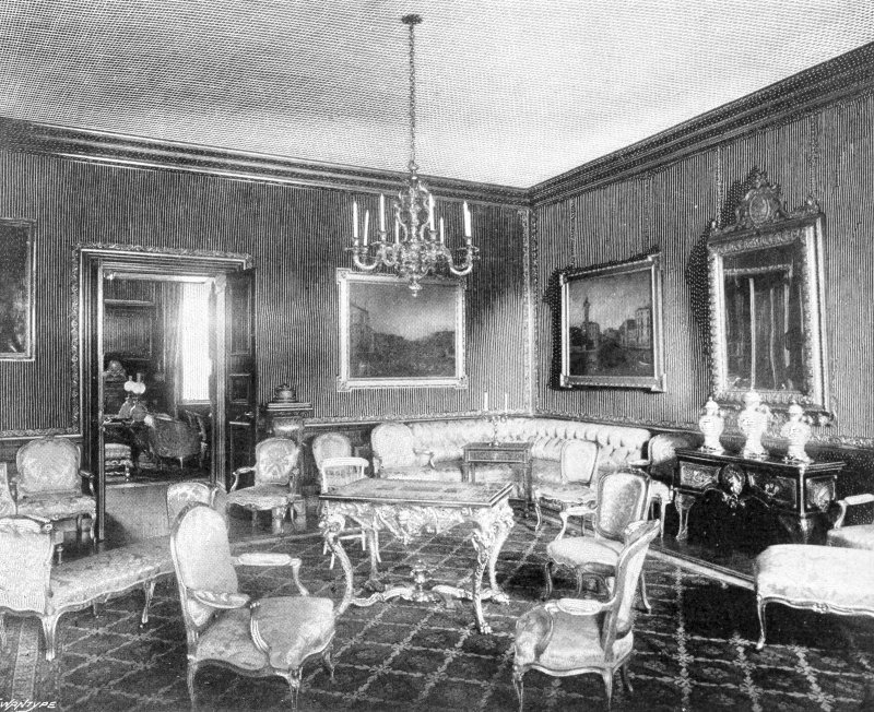 Copy of historic photograph showing interior view of the Canaletto room.