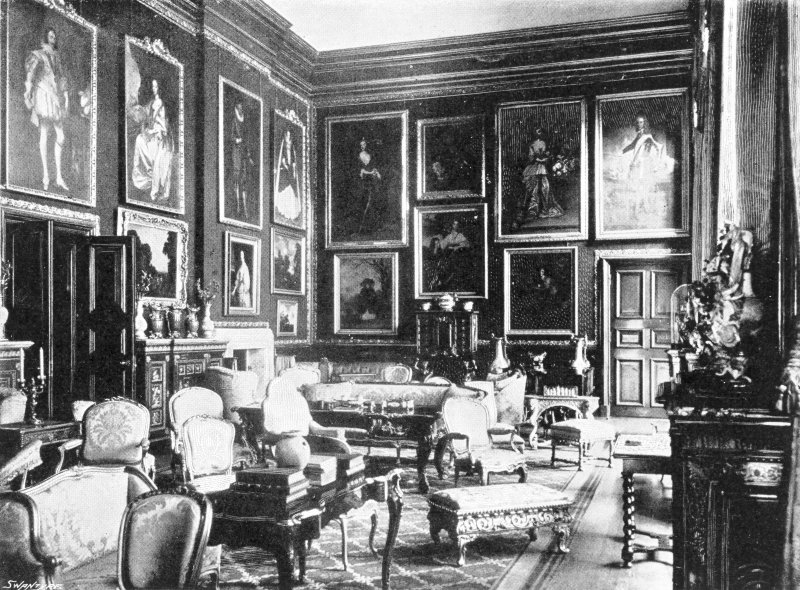 Copy of historic photograph showing interior view of the gallery.