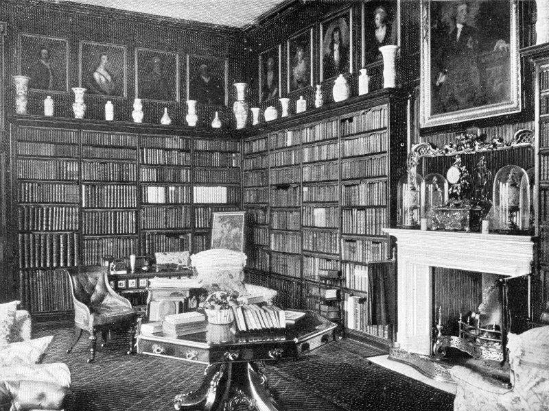 Copy of historic photograph showing interior view of library.