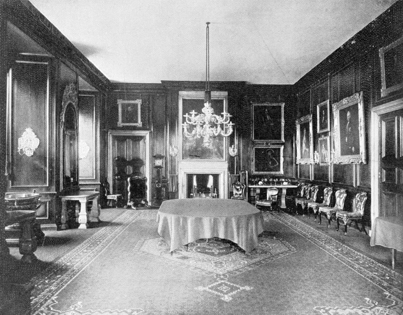 Copy of historic photograph showing interior view of dining room.