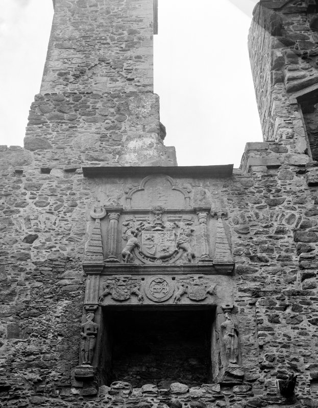 Interior view of fireplace in state room at Huntly Castle.
