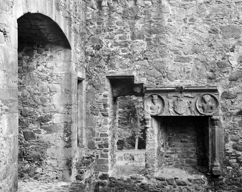Interior view of fireplace in private room at Huntly Castle.