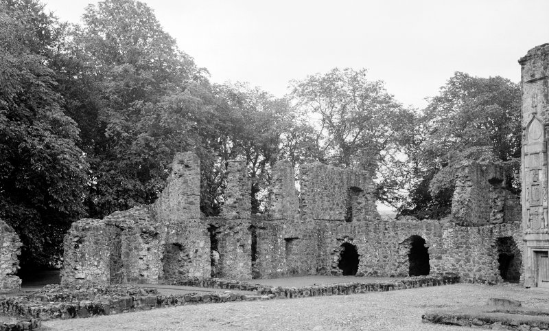 View from North West of South East corner of court at Huntly Castle.