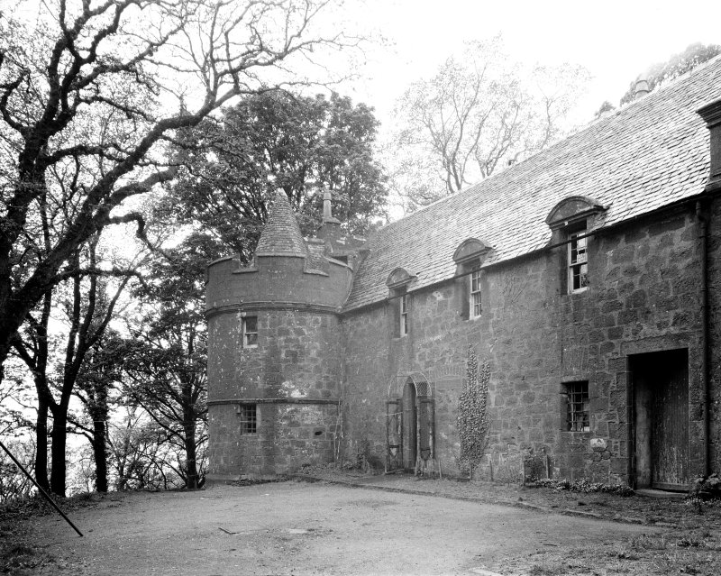 Skelmorlie Castle. View of guard-room tower.