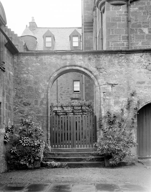 Skelmorlie Castle. View from courtyard of original entrance arch.