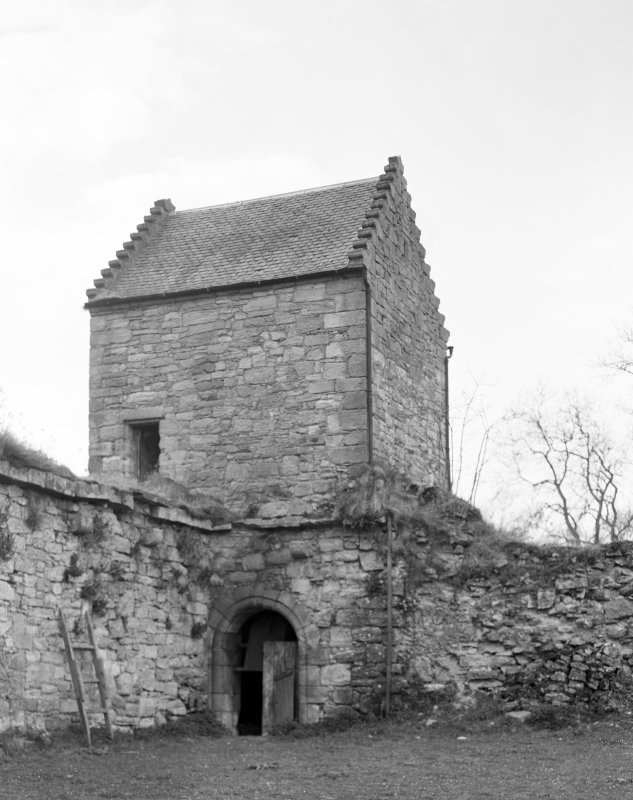 Craignethan Castle. View of West corner tower from East.