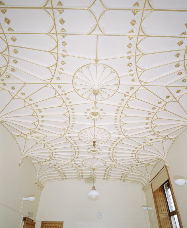 Drawing room, view of gilded plaster fan vaulted ceiling