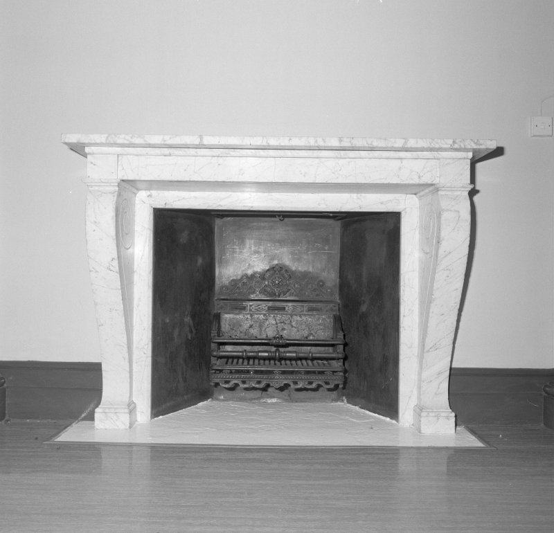 North entrance stair hall, detail of fireplace