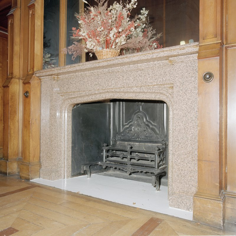 Library lobby, detail of fireplace