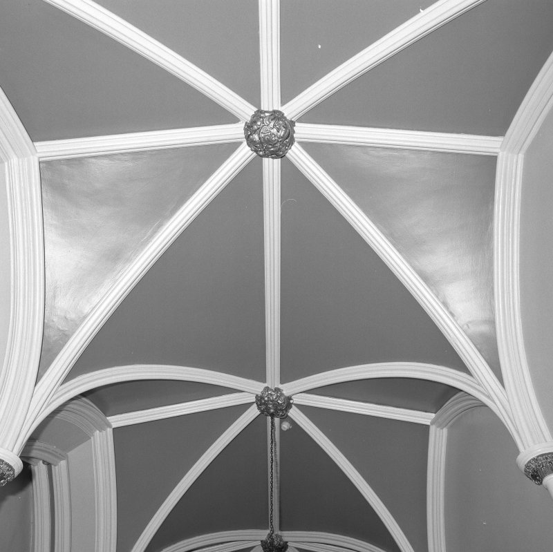 North hall, detail of vaulted plaster ceiling