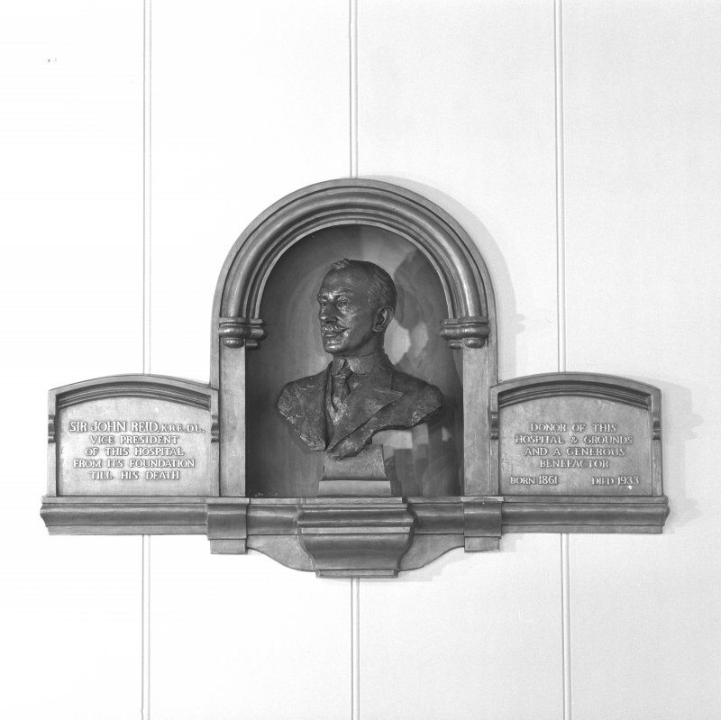 Entrance hall, detail of memorial plaque to Sir John Reid