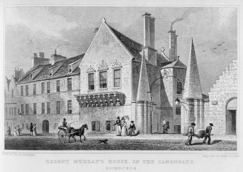 Engraving showing Moray House, Canongate, Edinburgh.