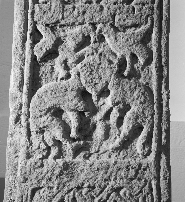 Back detail of carved stone in St Andrews Cathedral Museum.