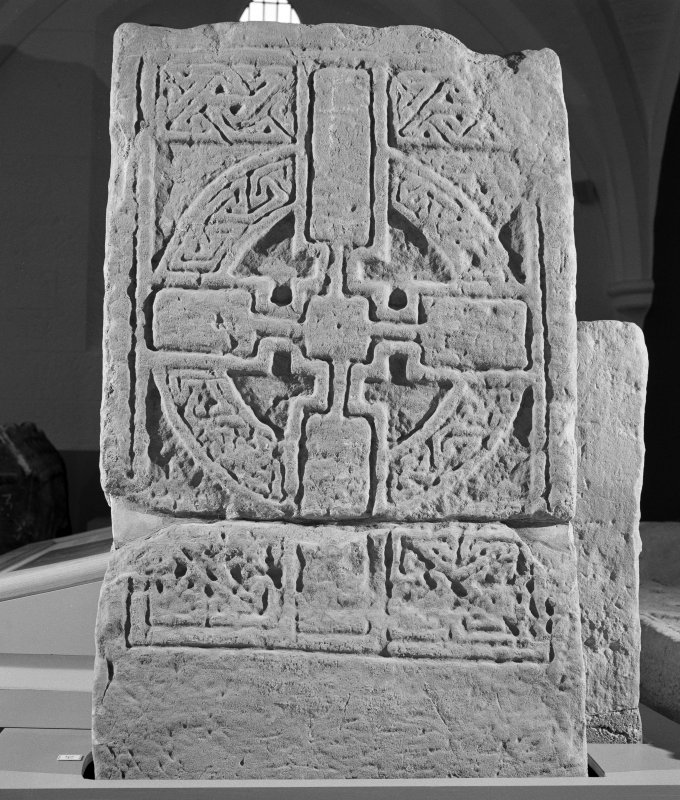 View of face of cross slab no. 24 on display in St Andrews Cathedral Museum.