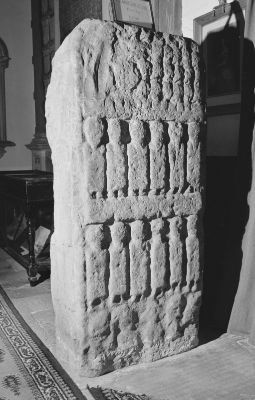 View of reverse of the Apostles Stone cross slab on display in Dunkeld Cathedral.
