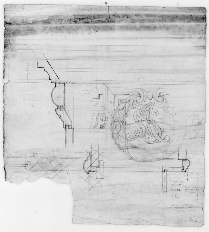 Ardgowan House, Inverkip. Photographic copy of plan of chimney piece in sitting room with drawing of detail.
