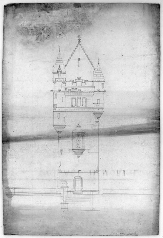 Photographic copy of proposed elevation. Competition drawing.