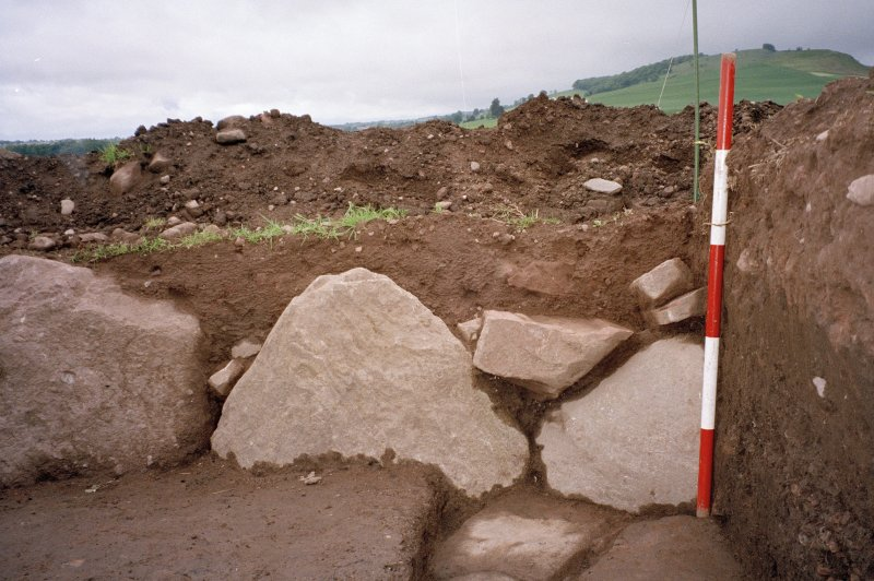 View of the NW corner of the excavation trench. Scale in 200mm divisions