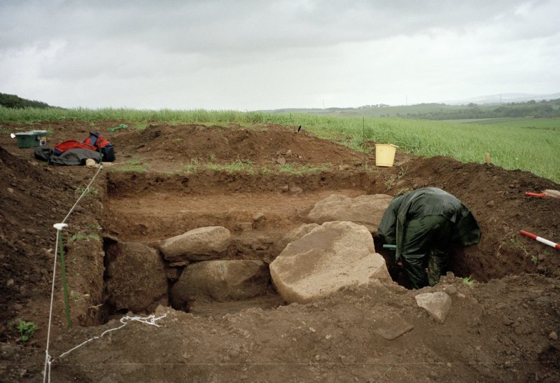View from W of excavation trench. Mark Hall (Perth Museum) in picture