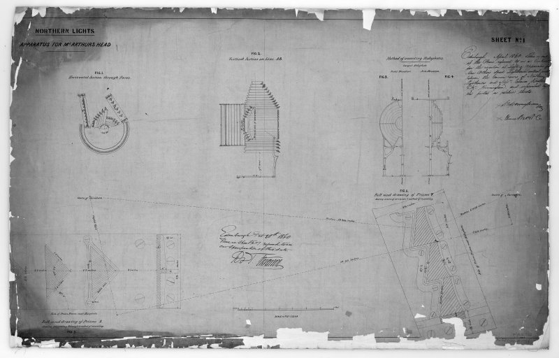 Photographic copy of drawing of showing light apparatus including vertical sections and prisms. Northern Lights, sheet No.1