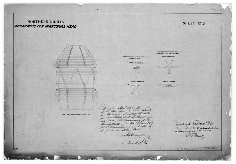 Photographic copy of vertical section with details of light apparatus  Northern Lights, sheet No.2