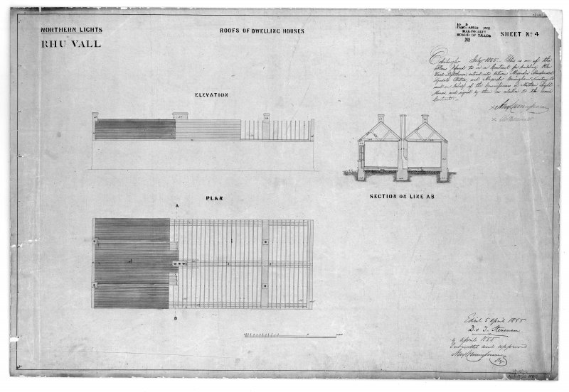 Photographic copy of drawing showing a plan, elevation of roof of dwelling houses and section through dwelling houses. Northern Lights, sheet No.4