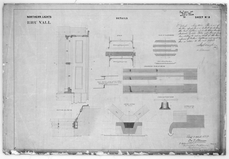 Photographic copy of drawing showing details and enlarged plan of beam.  Section through a door.  and sections through stair and gutter. Northern Lights, sheet No.5