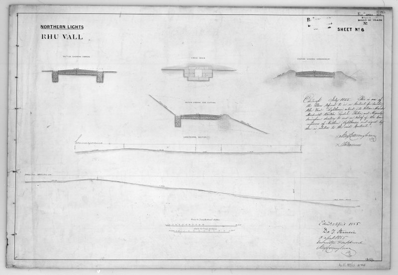 Photographic copy of drawing showing sections across road, drain, embankment, cutting and forming.  In addition a longitudinal section of the road. Northern Lights, sheet No.6