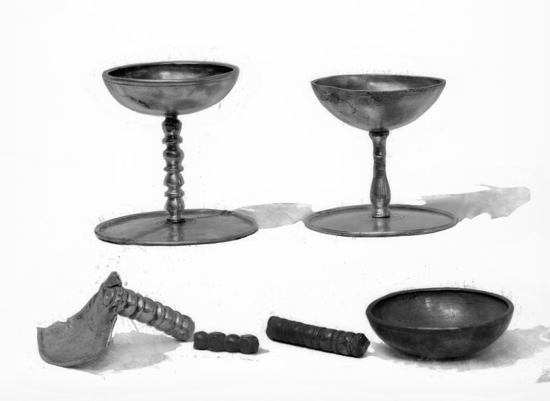 Two goblets (Nos. 13 - 14) and portions of others (Nos. 15 - 18)