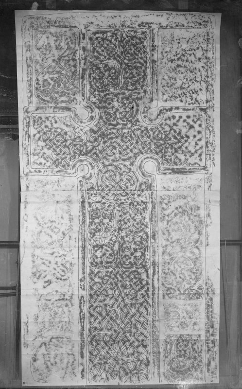 Photographic copy of rubbing showing the face of Rodney's Stone Pictish cross slab, Brodie.