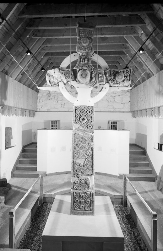 View of St John's Cross from east in the museum, Iona.