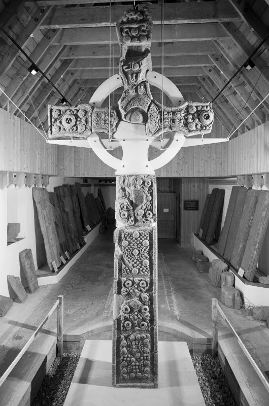 View of St John's Cross from West in the museum, Iona.