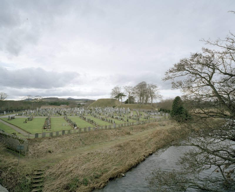 Bass of Inverurie: view of motte from ESE (across burial-ground).