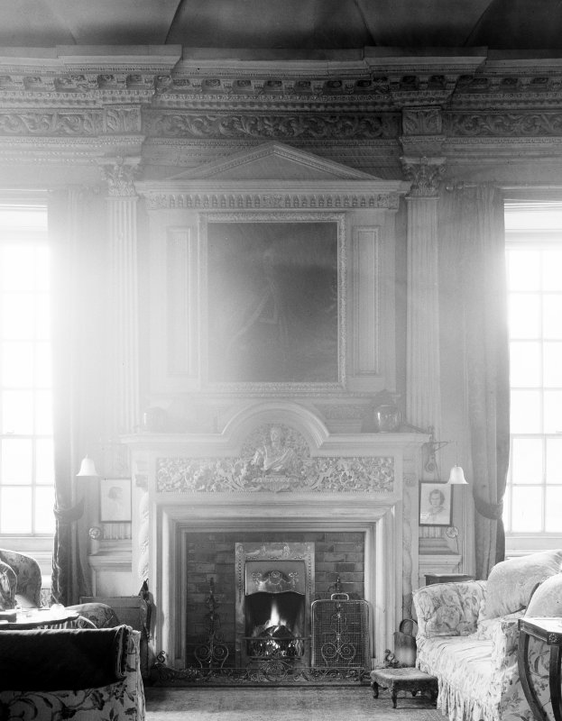 Kelburn Castle. Interior. View of drawing room fireplace.
