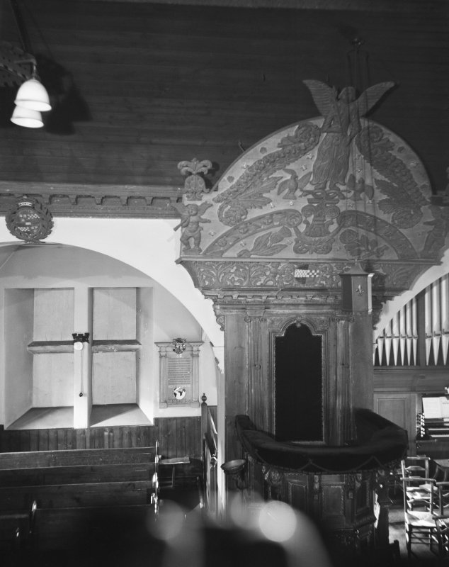 Kilbirnie Church. Interior. View of pulpit.
