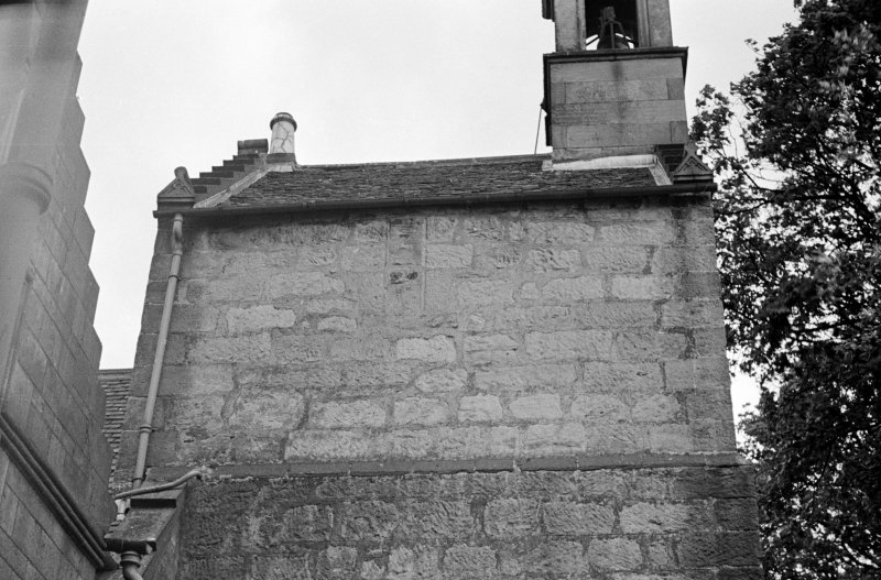 Kilbirnie Parish Church.  Detail of top of tower from North.