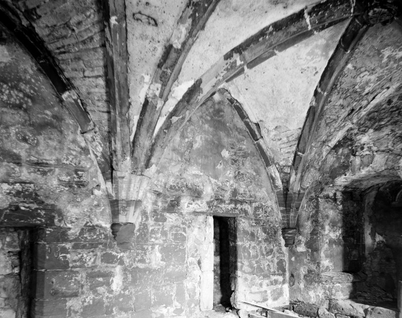 Mauchline Castle. Interior of hall.