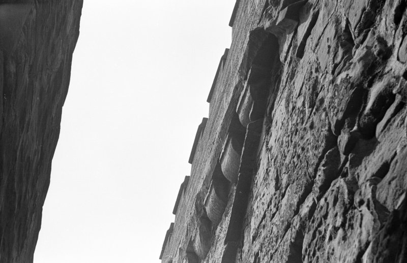 Mauchline Castle. Detail of raggles on South wall of tower.
