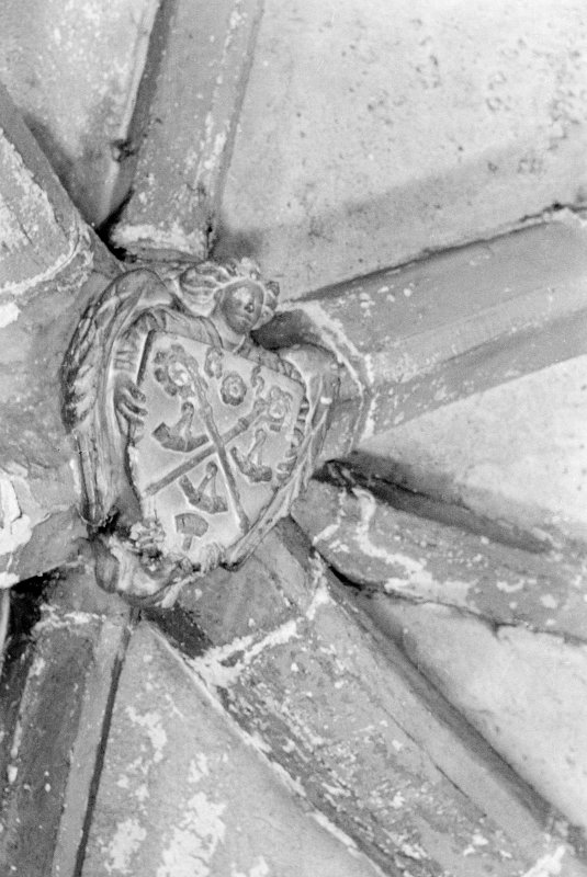 Mauchline Castle. Detail of ceiling boss in hall.