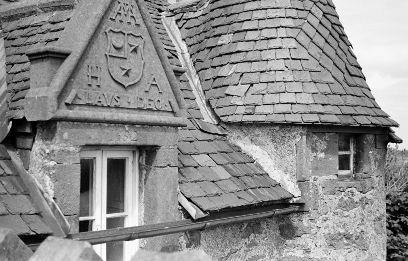 Castle of Fiddes. Detail of window pediment on East tower.