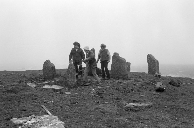 General view of the chambered cairn on Swona with Audrey Henshall (centre), J L Davidson (left) and D Frazer.