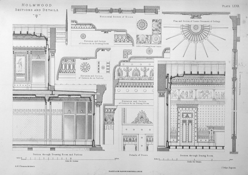 Photographic copy of drawing from Villa and Cottage Architecture showing sections and details. Titled: 'Holmwood, sections and details  A&G Thomson, Architects  Plate LXXII  J Sulpis Engraver  Blackie & Son, Glasgow, Edinburgh & London.'