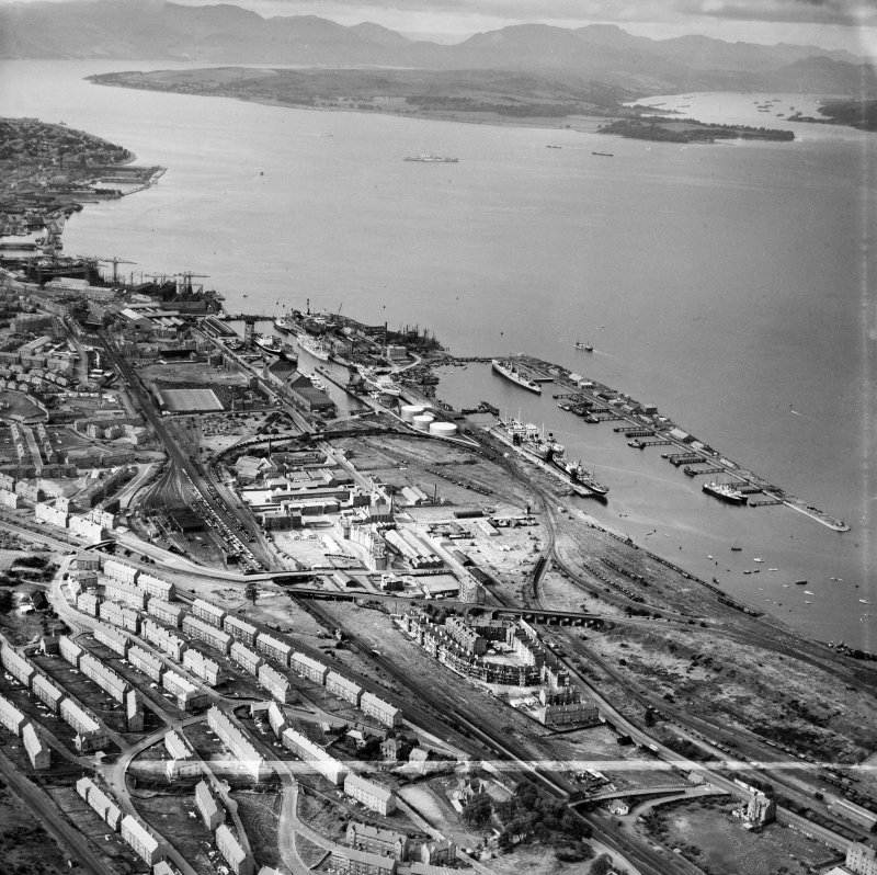 Greenock Harbour,   Great Harbour, Greenock, Renfrewshire, Scotland, 1949. Oblique aerial photograph taken facing north.  This image has been produced from a crop marked negative.