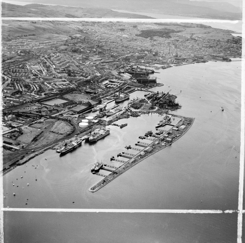 Greenock Harbour, Bridgend, Greenock, Renfrewshire, Scotland, 1949. Oblique aerial photograph taken facing west.  This image has been produced from a crop marked negative.