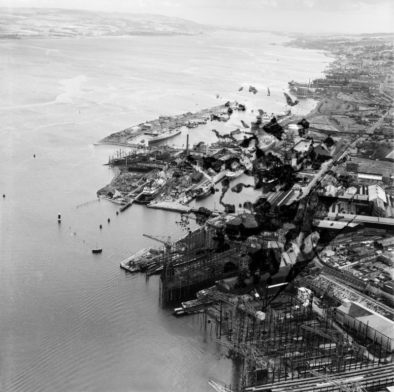 Greenock Harbour and Cartsdyke Shipyards,   Bridgend, Greenock, Renfrewshire, Scotland, 1949. Oblique aerial photograph taken facing east.  This image has been produced from a damaged negative.