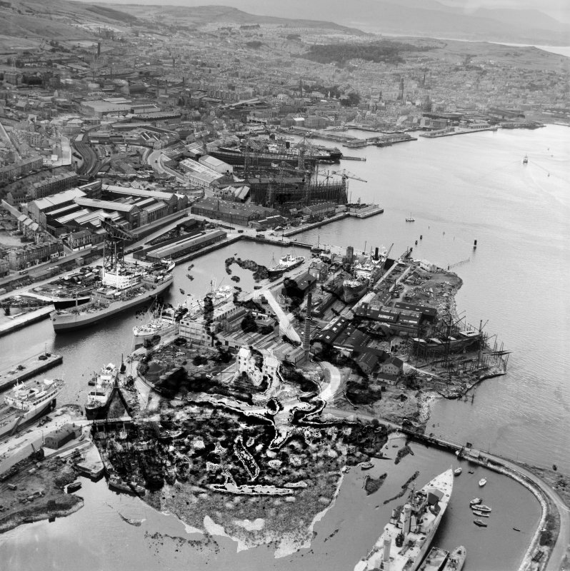 James Watt Dock and Cartsdyke Shipyards, Greenock Harbour,   Bridgend, Greenock, Renfrewshire, Scotland, 1949. Oblique aerial photograph taken facing west.  This image has been produced from a damaged negative.