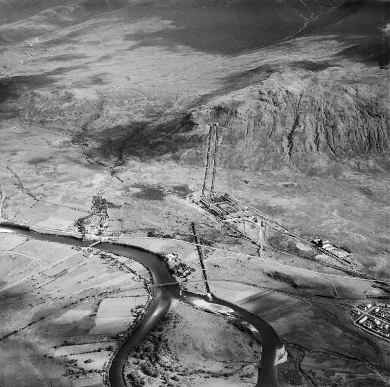 Lochaber Hydroelectric Scheme and Aluminium Smelter, Fort William,   Victoria Br, Kilmonivaig, Inverness-shire, Scotland, 1949. Oblique aerial photograph taken facing east.