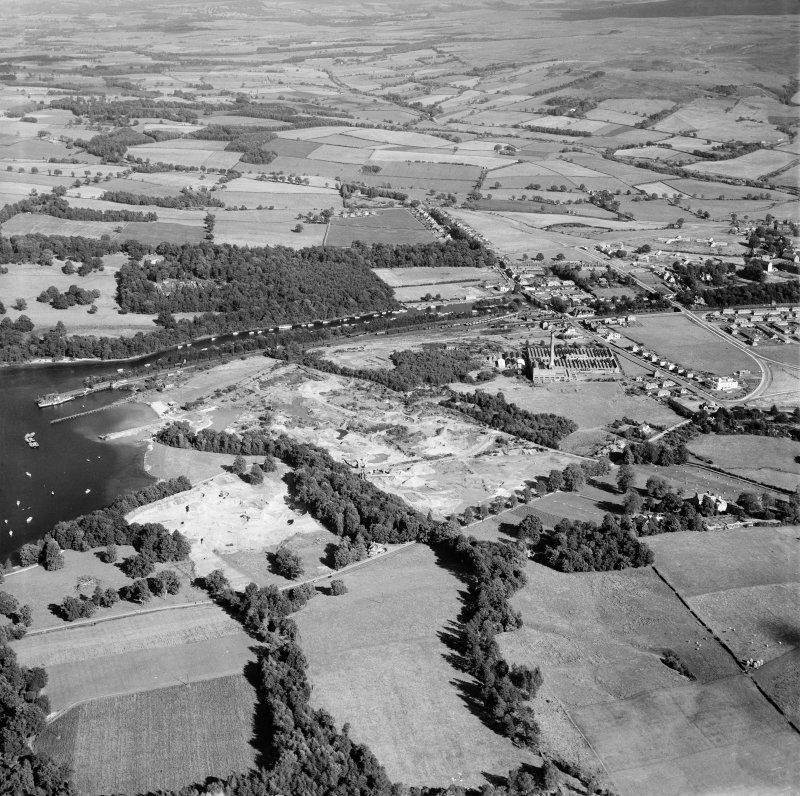 Balloch, general view, showing Balloch Pier and Balloch Bridge,   Balloch, Bonhill, Dunbartonshire, Scotland, 1949. Oblique aerial photograph taken facing east.