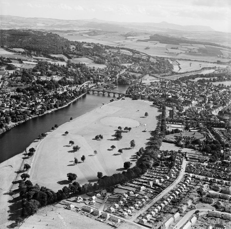 Perth, general view, showing north Inch and Perth Bridge,   north Inch, Perth, Perthshire, Scotland, 1949. Oblique aerial photograph taken facing south.